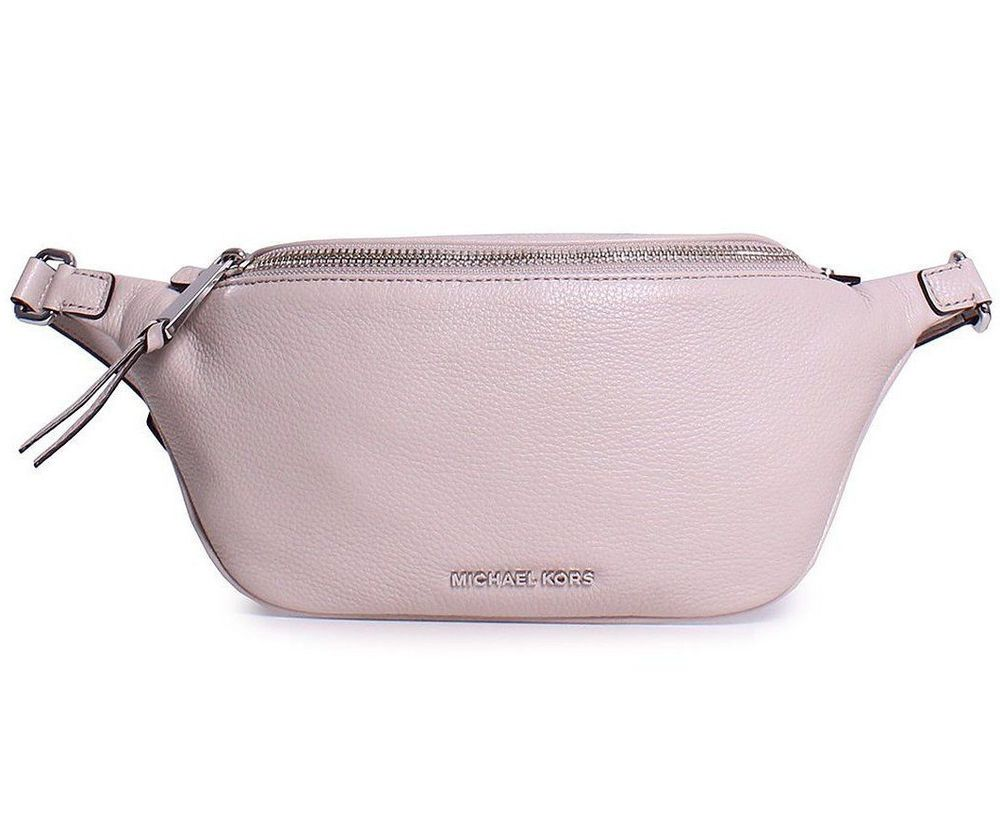 675d6b393094 Michael Kors Fanny Pack Rhea Zip Cement Color Pebbled Leather Belt Bag  168  NWT  MichaelKors