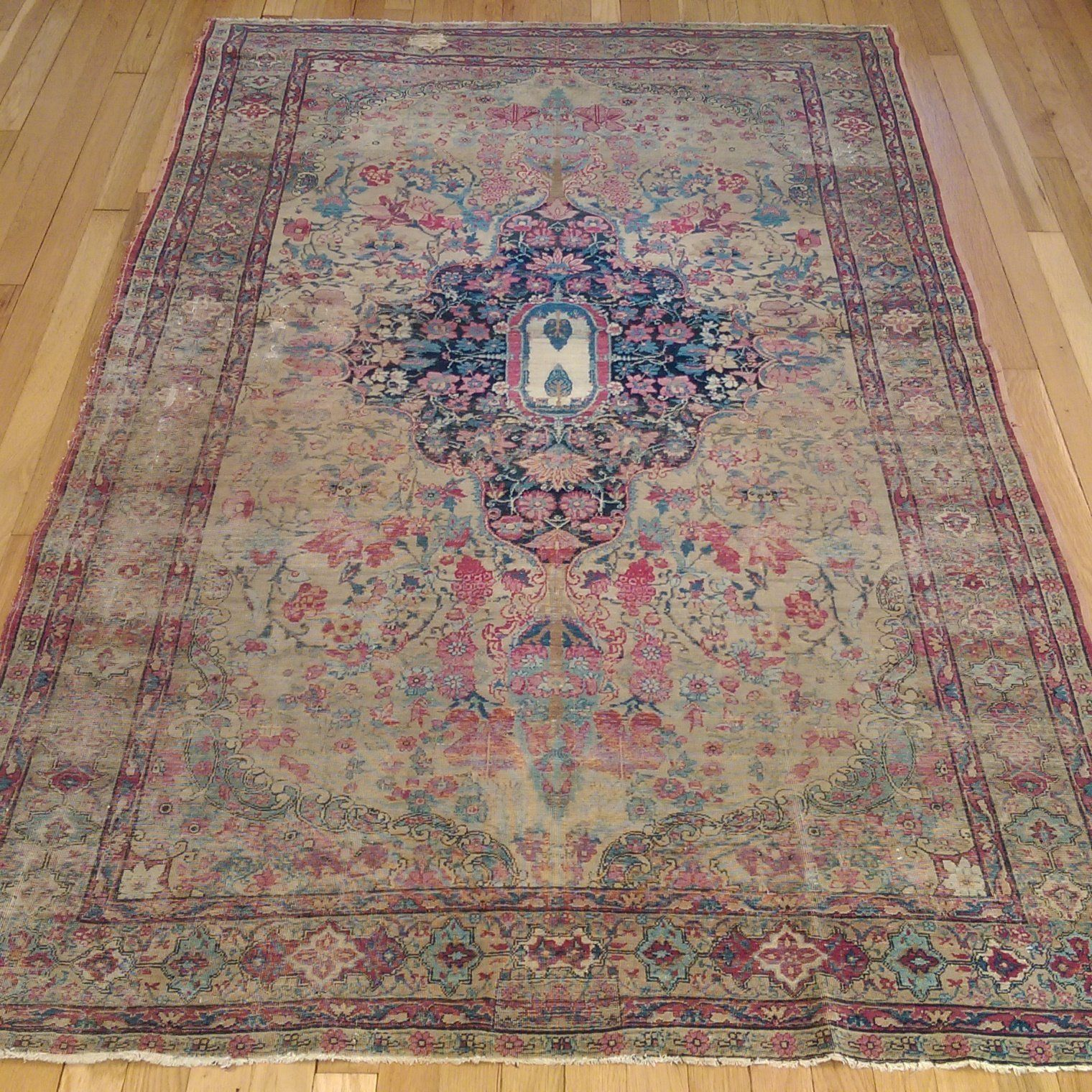 Worn To Perfection With A Soft Color Palette Antique Persian Rug 4 X 6 9 Cream Kirman Jessie S Oriental Rugs