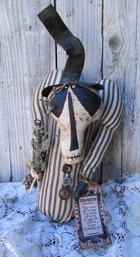 Primitive Folk-Art 'GRUNGE REAPER' Fortune Teller Happy Life Doll #NaivePrimitive #GRUNGEGODDESSPRIMITIVES