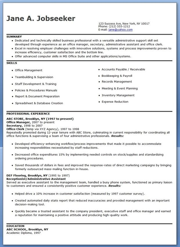 Office Manager Resume Samples Creative Resume Design Templates - office manager resume skills