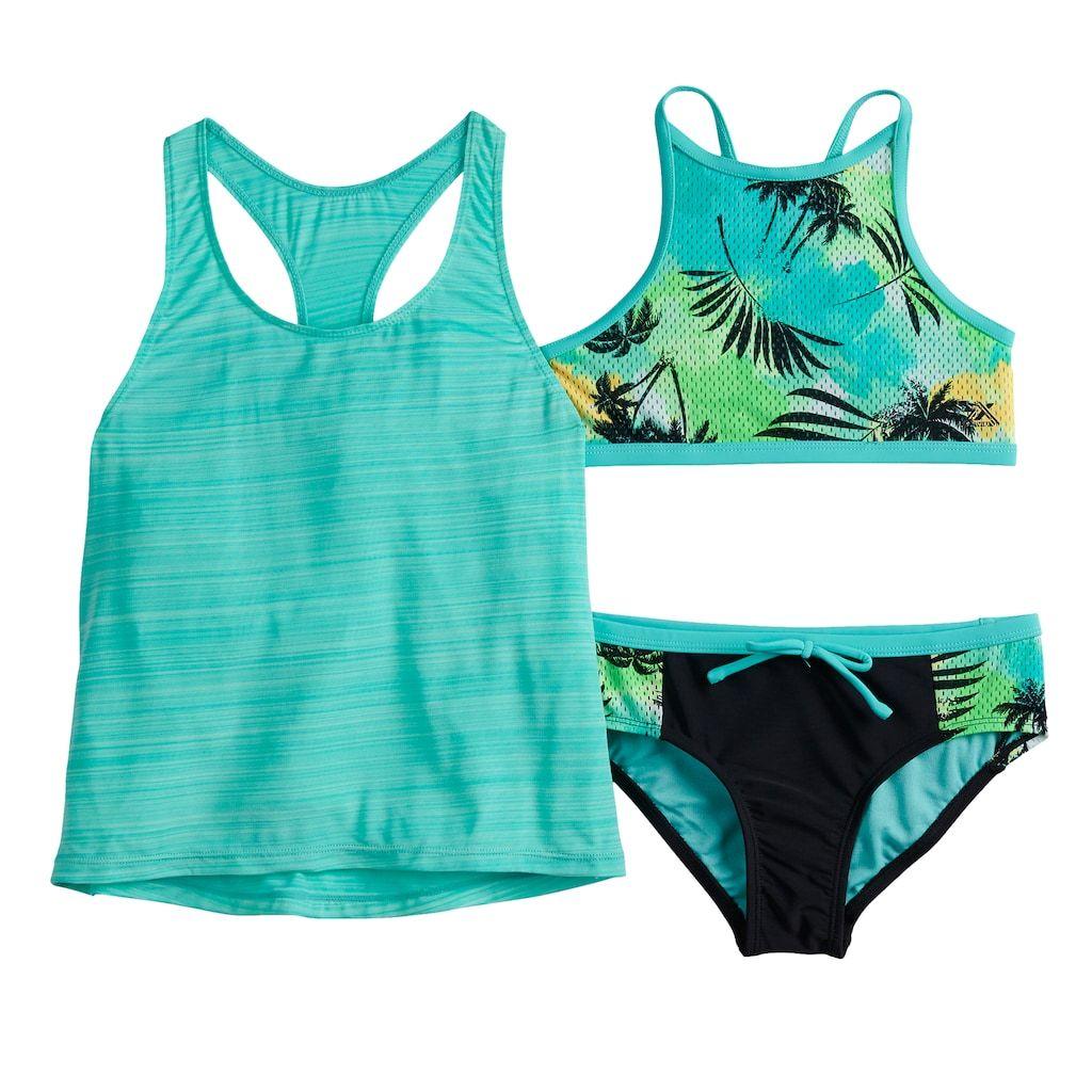 90123a5d772e8 Girls 7-16 ZeroXposur Summer Storm Tank Top, Bikini Top & Bottoms Swimsuit  Set, Aruba