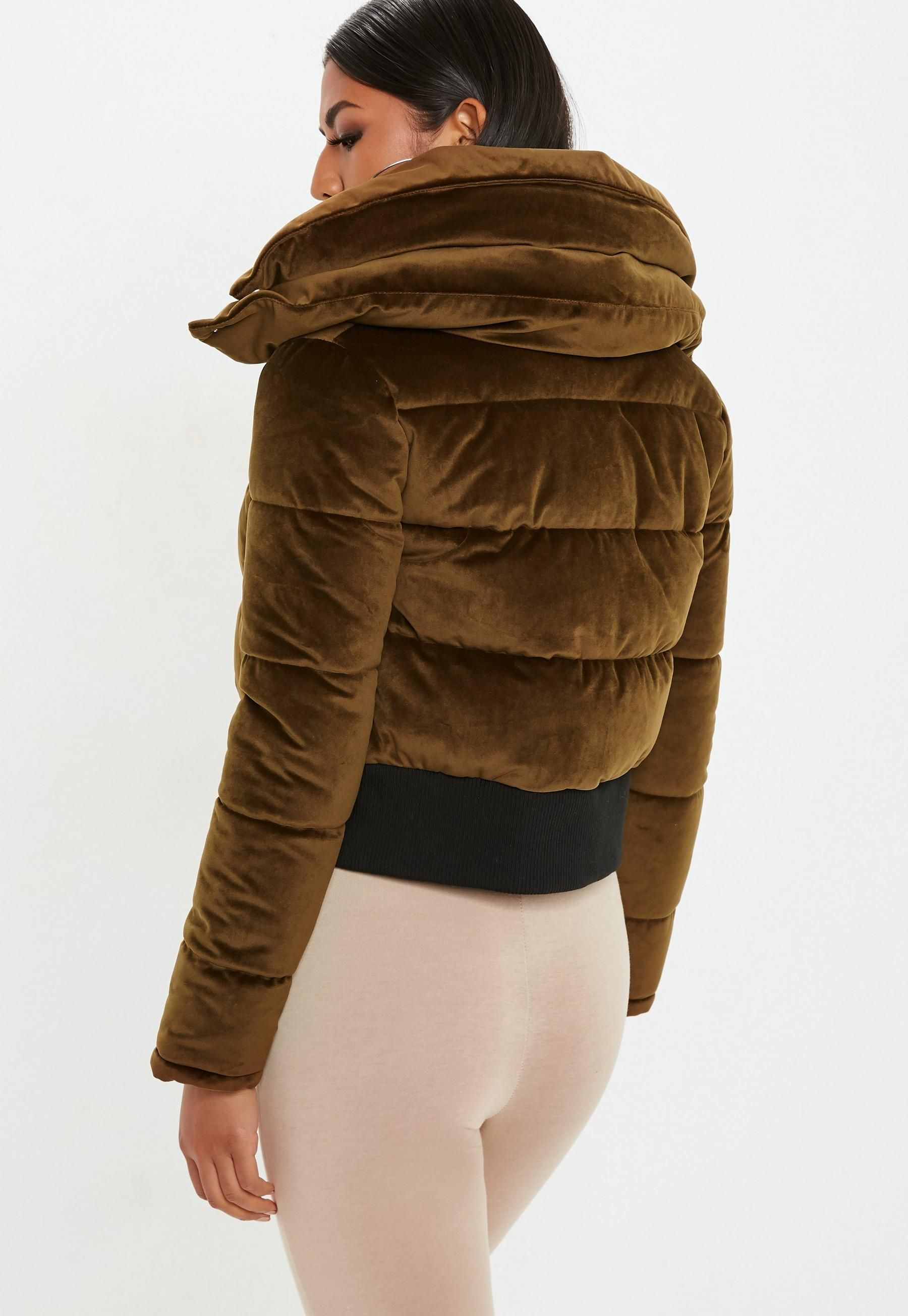 f40f9df404e Bronze Velvet Cropped Padded Coat | Missguided | FAZHION HITZ | Coat ...