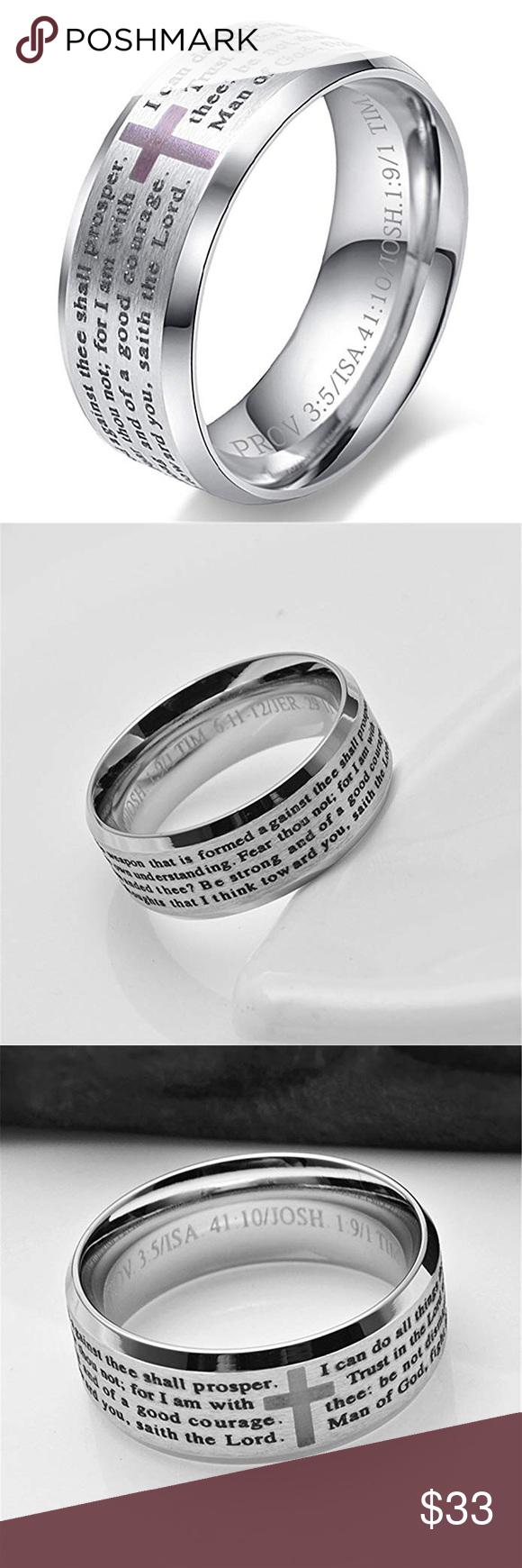 Beautiful Stainless Steel Bible Verse Ring Beautiful bible