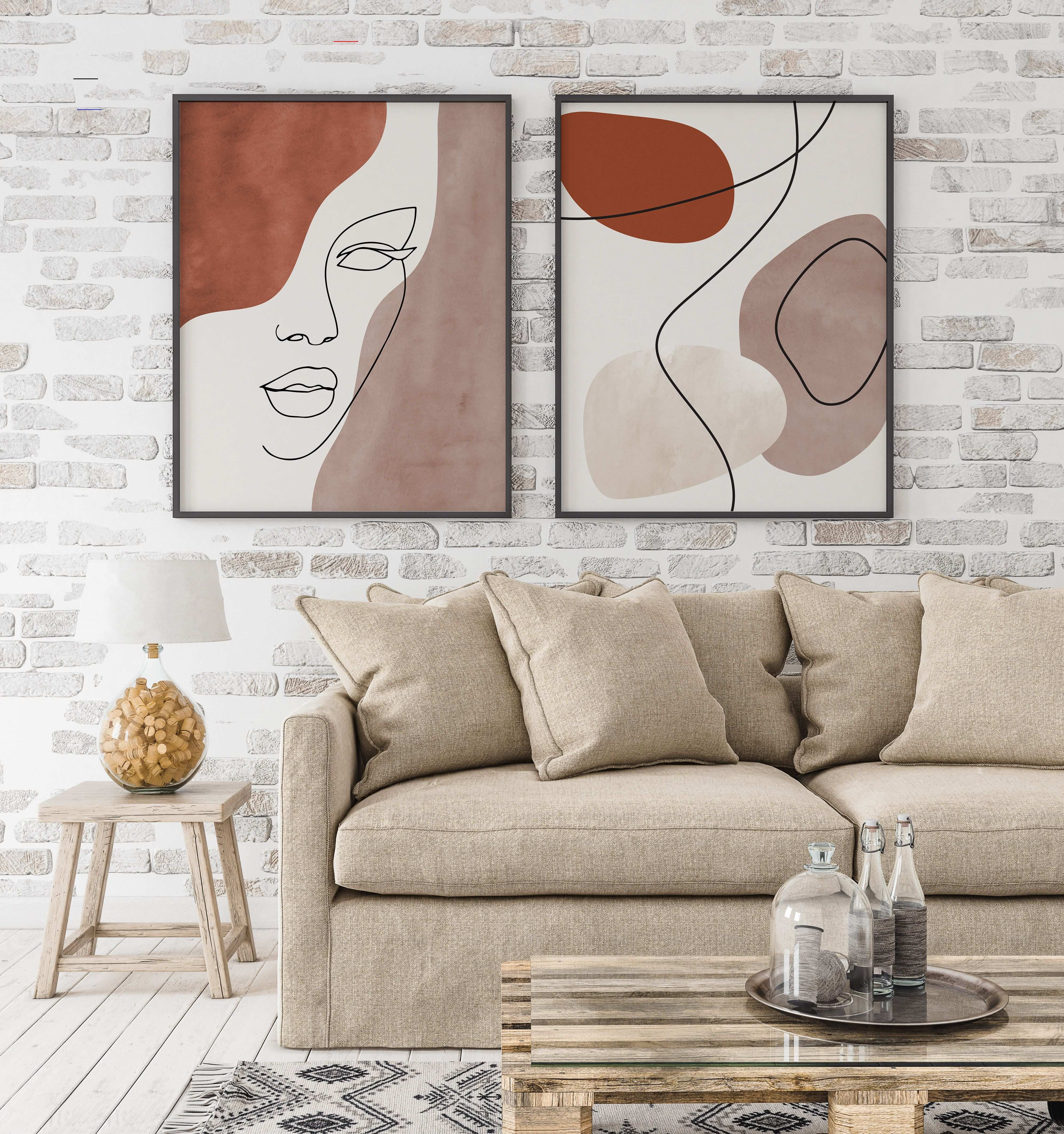 Abstract face line art print set of 2 woman face line