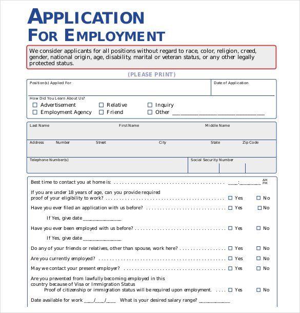 employment application template 50 free employment job