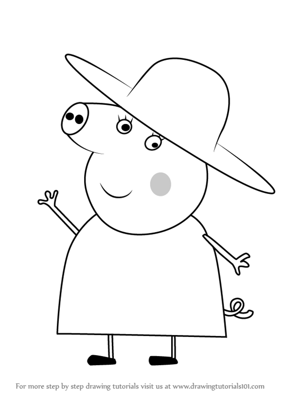 Learn How To Draw Granny Pig From Peppa Pig Peppa Pig Step By Step Drawing Tutorials In 2020 Peppa Pig Drawing Peppa Pig Coloring Pages Peppa Pig Colouring