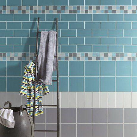 mosaïque astuce, gris galet n°5 et bleu atol n°5, 4.8x4.8 cm ... - Salle De Bain Gris Bleu