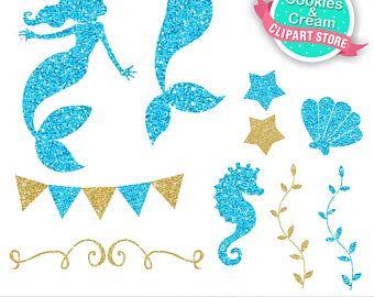 gold and blue beautiful ocean mermaid clip art cute glitter rh pinterest com glitter clipart png glitter clipart png