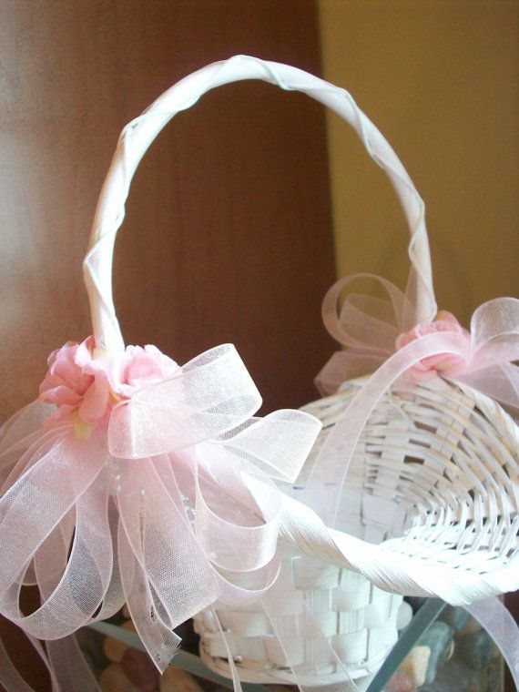 Flower girl white wicker basket with pink roses by countrysweets flower girl white wicker basket with pink roses by countrysweets 3499 mightylinksfo