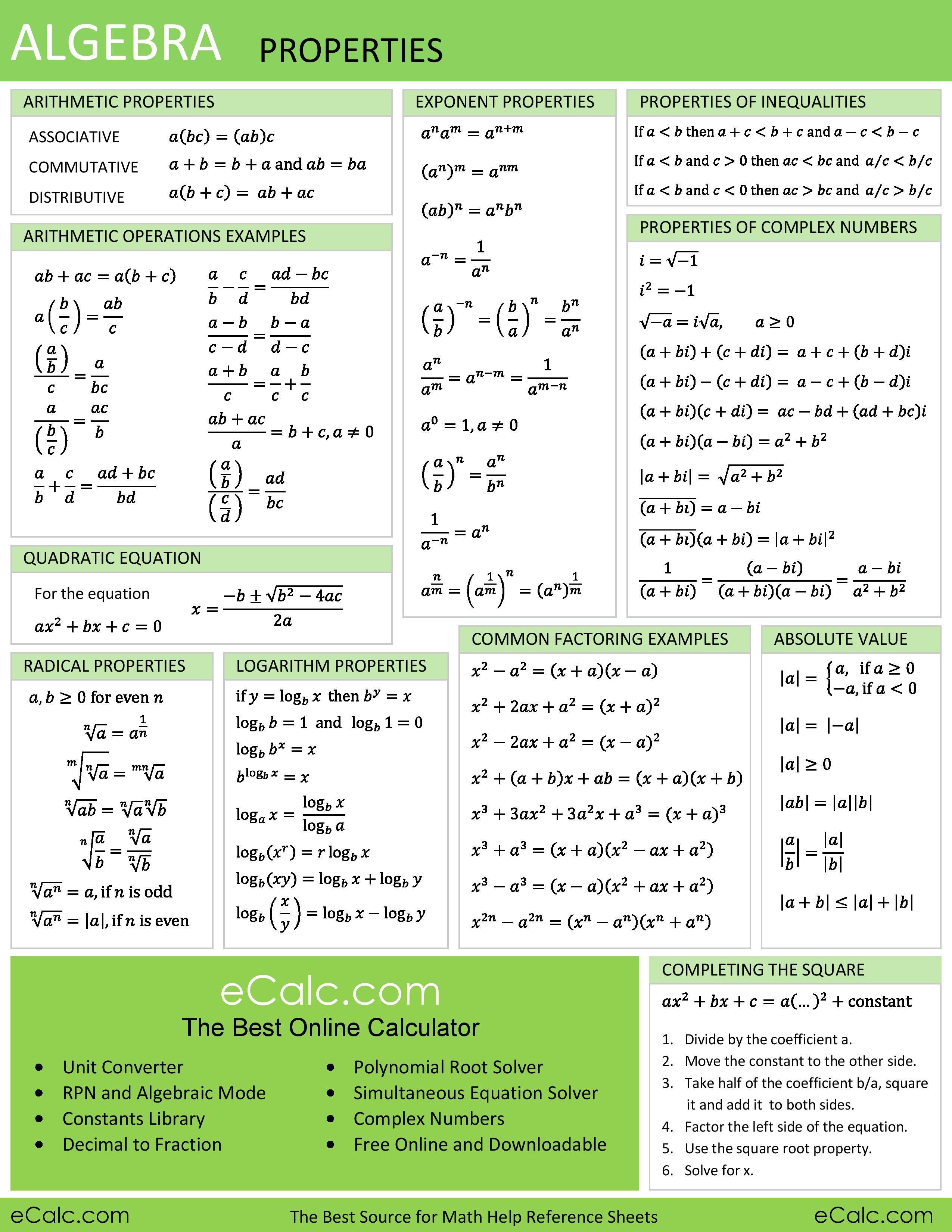 Algebra Properties Ecalc S Math Help Reference Sheet Math Methods Algebra Formulas College Algebra [ 3300 x 2550 Pixel ]