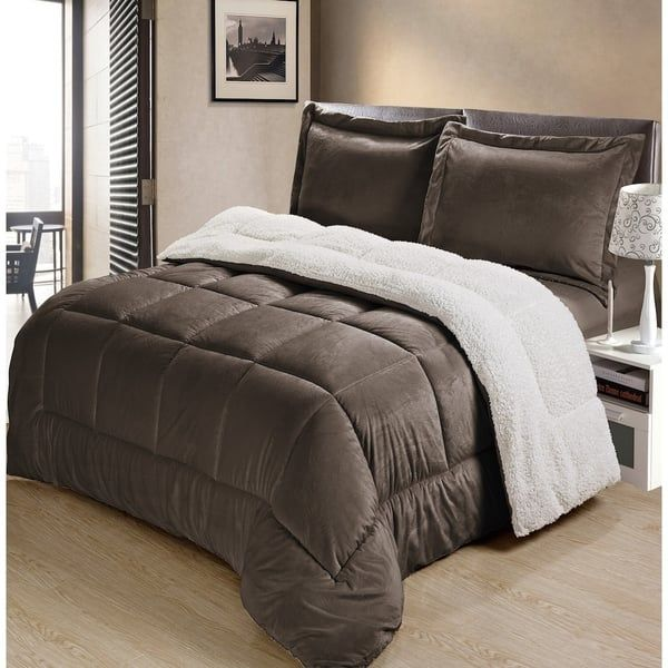 Photo of Copper Grove Stephenfield Ultra Plush Faux Suede and Sherpa 3-piece Comforter Set (Pewter – Twin), Gray
