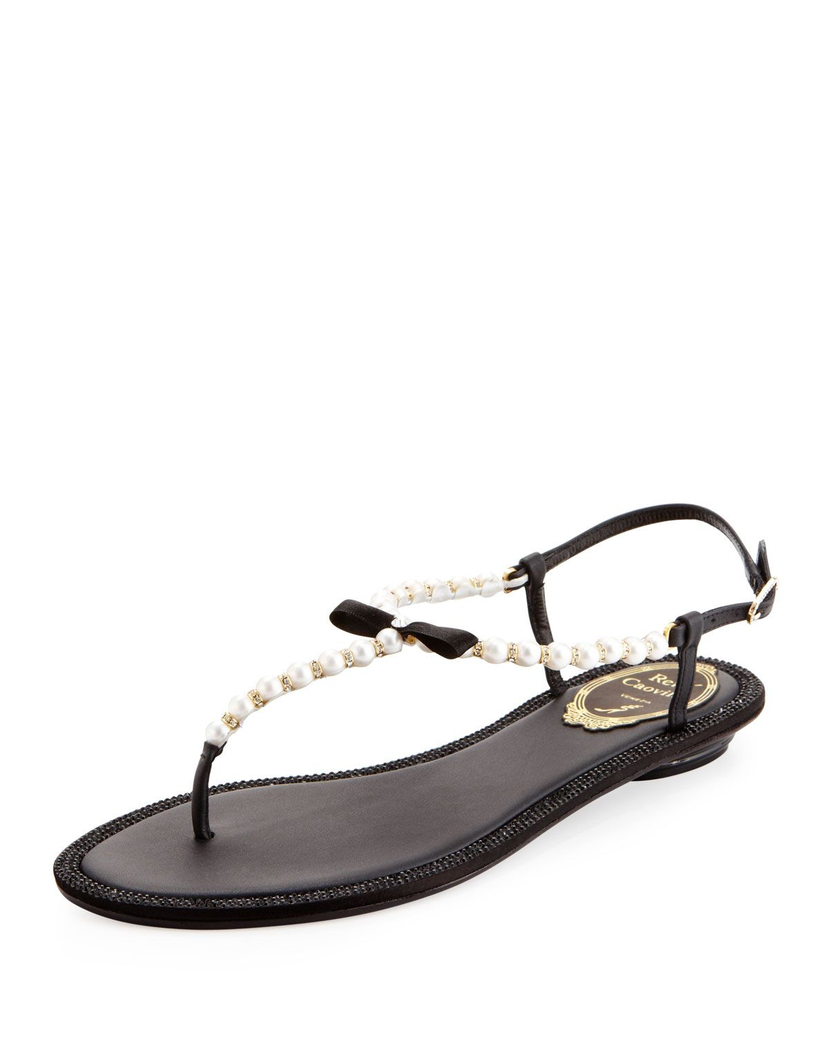 514df42f1 Pearly   Crystal Flat Thong Sandal