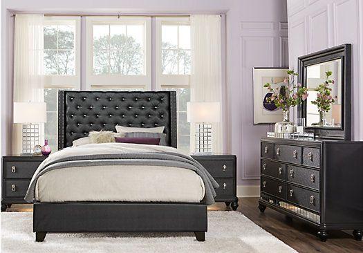Sofia Vergara Paris Black 5 Pc King Upholstered Bedroom ...