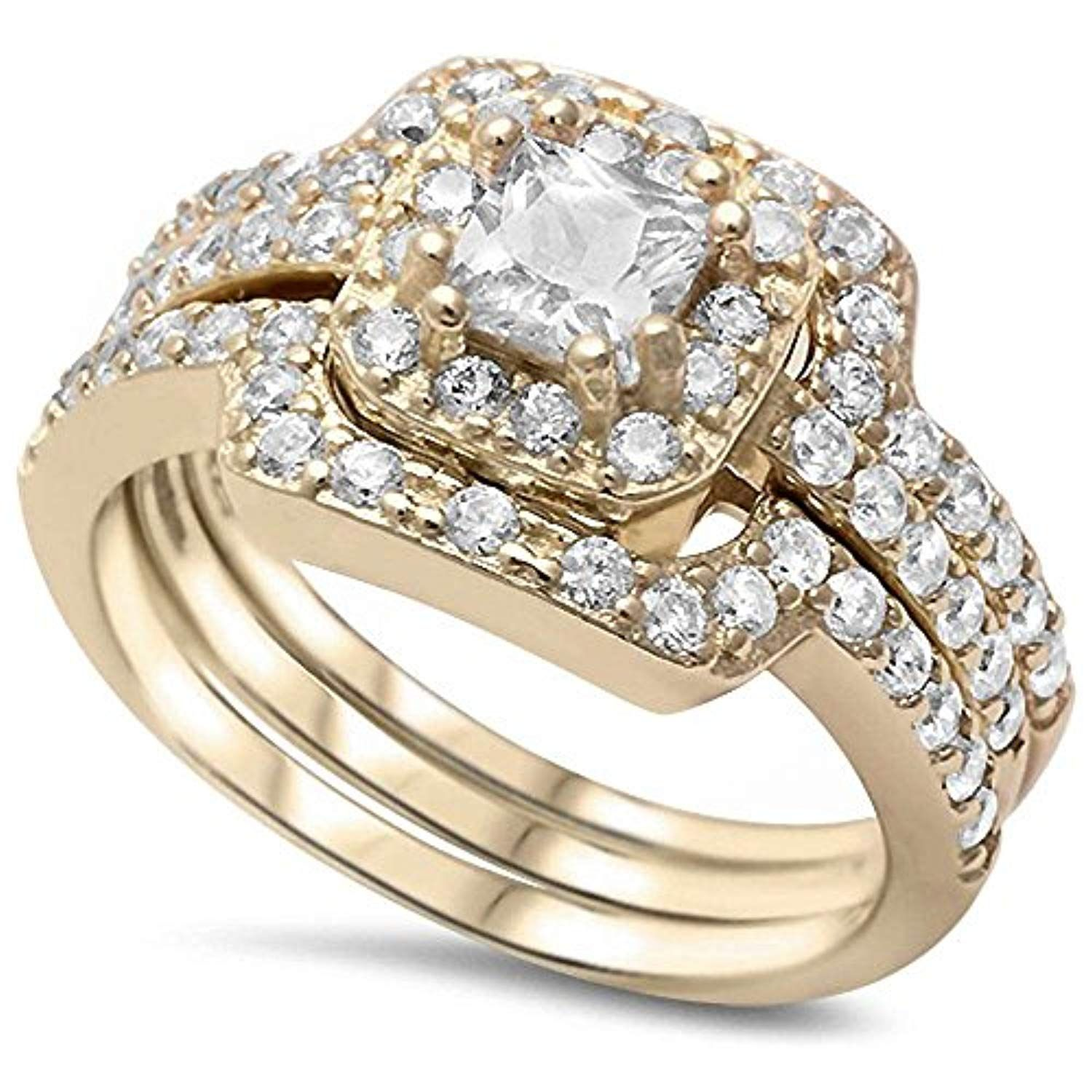 Yellow Gold Plated Silver 3 Piece Cubic Zirconia Ring