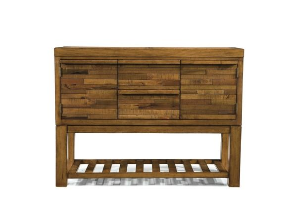 Bancroft B - Unique re-purposed solid wood pieces create this exotic sideboard. This collection also includes a dining table, pub table and chairs.