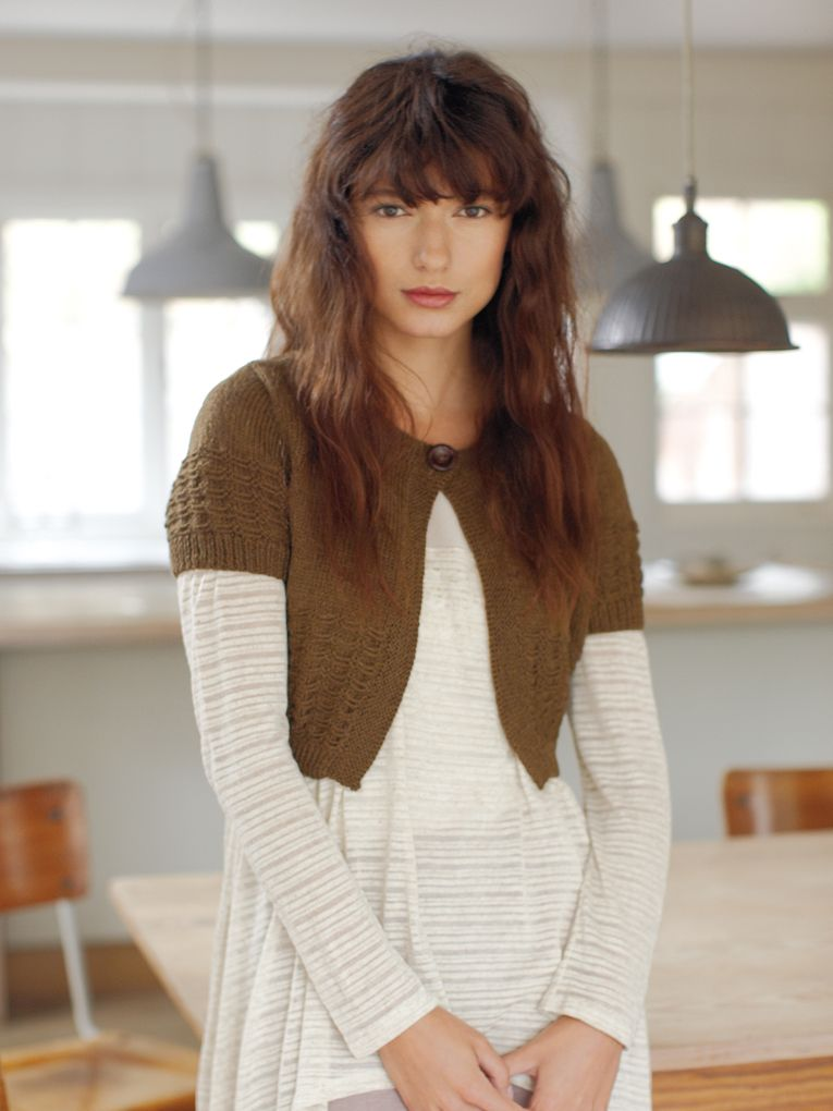 Kew - Knit this womens stocking stitch and slip stitch bolero from ...
