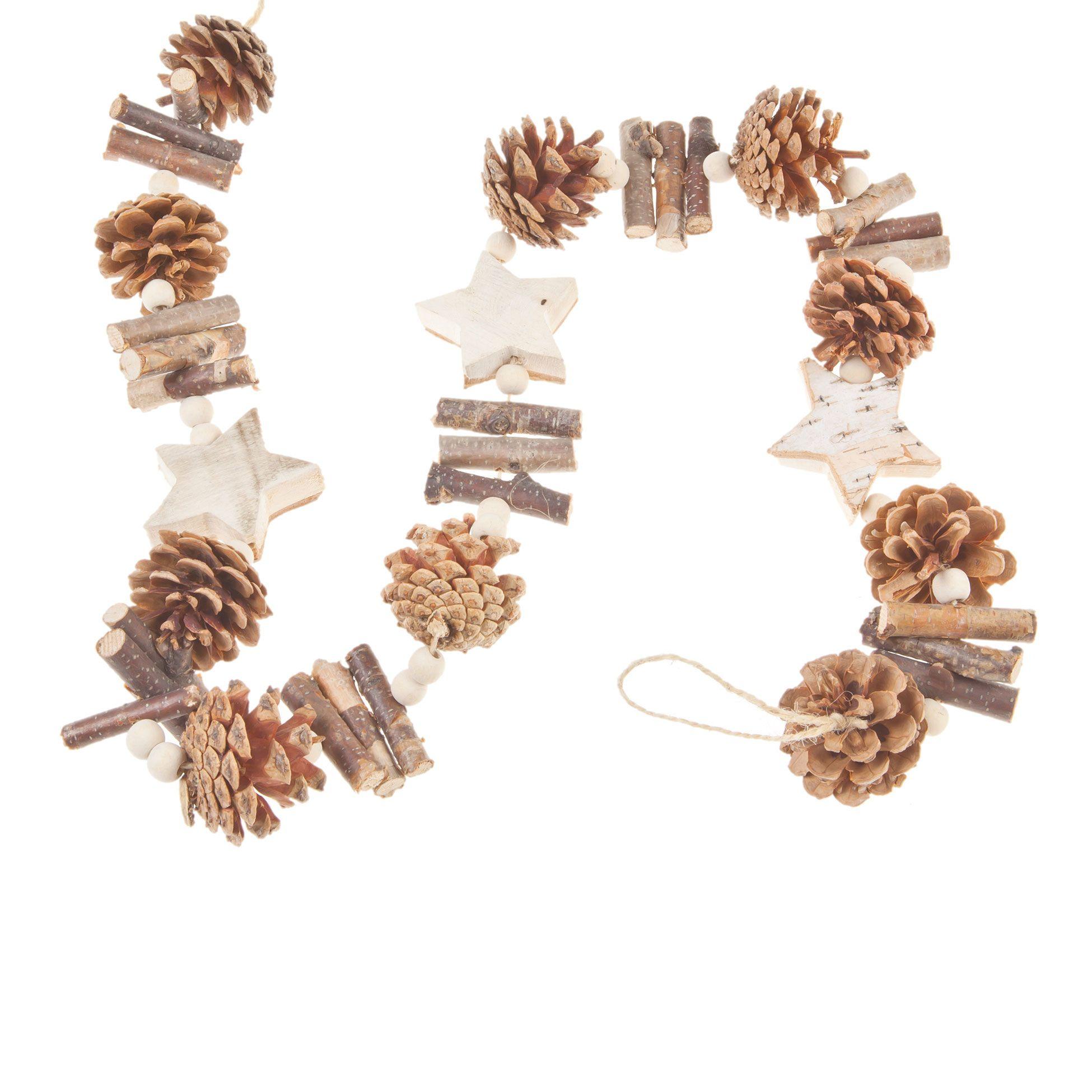 garland star wood and pine cones decoration collection christmas guirlande toiles en. Black Bedroom Furniture Sets. Home Design Ideas