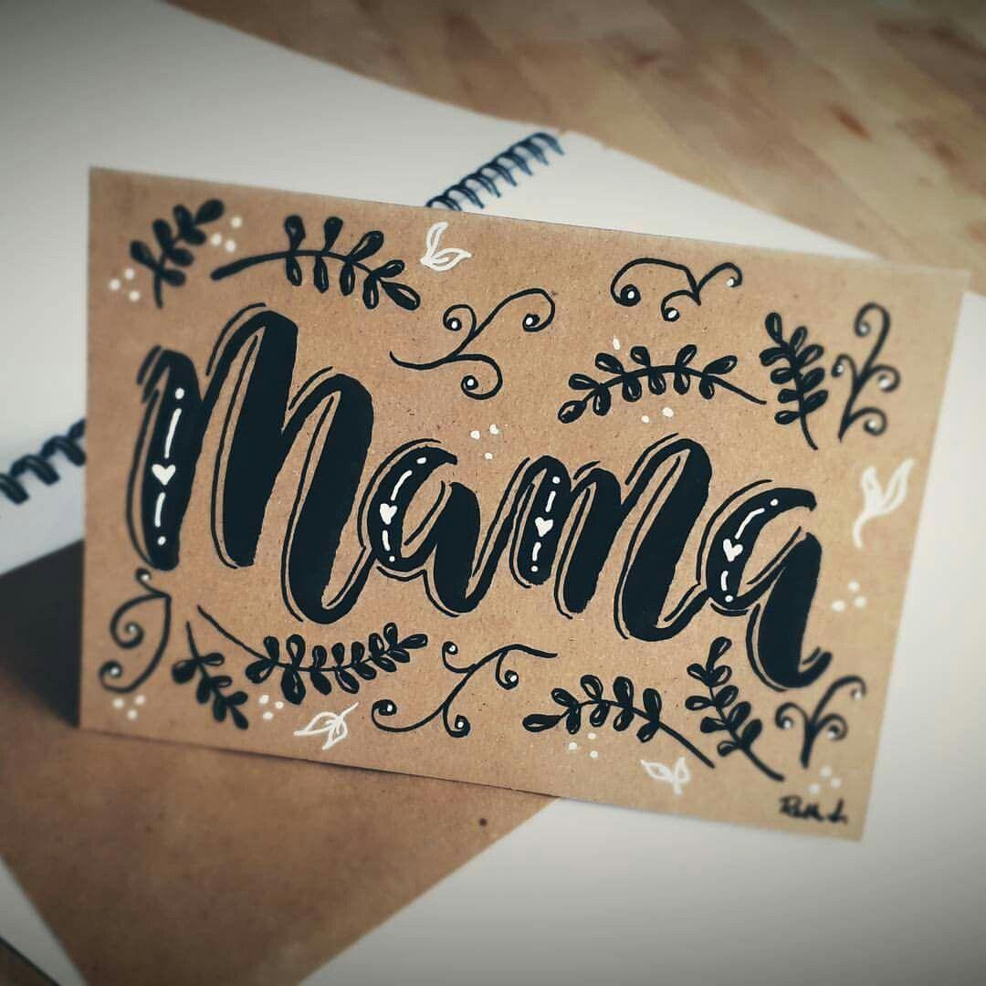 Zum Muttertag eine selbstgemachte Karte DIY im Hand-lettering Stil und schönen Schnörkeln #albumart