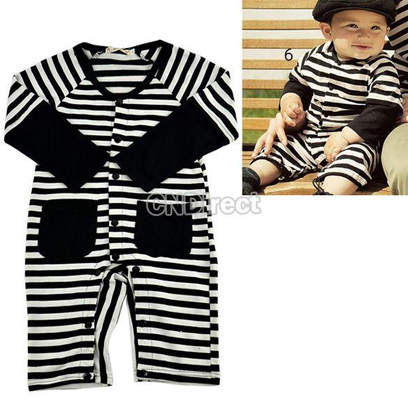 cc4d8e3abd67  7.90 Baby Jumpers Cloths 6-24 Month Black White Stripe Romper ...
