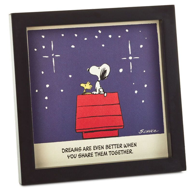 Peanuts Snoopy And Woodstock Dream Together Framed Wall Art 7x7 Snoopy Wall Art Framed Wall Art Snoopy And Woodstock