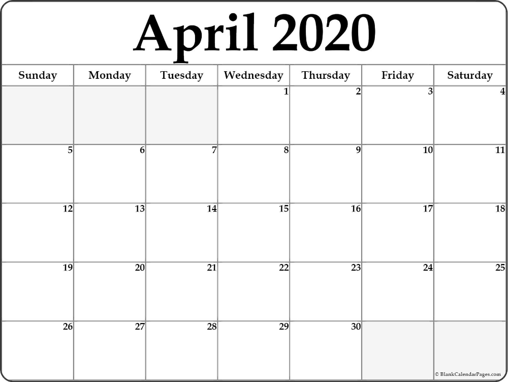 April 2020 calendar | free printable monthly calendars in 2020