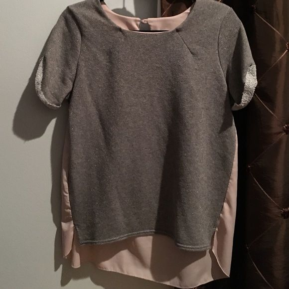 Grey Blouse Excellent condition. Chiffon back. The grey has like little gold sparkles American Eagle Outfitters Tops Blouses
