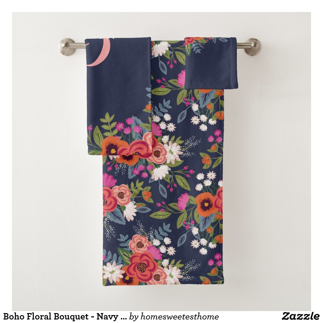 Boho Fl Bouquet Navy Blue Pink Monogram Bath Towel Set