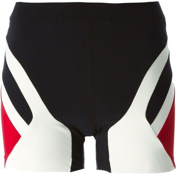 No Ka' Oi Paneled Fitted Shorts (£56) ❤ liked on Polyvore featuring shorts, black, fitted shorts, black fitted shorts and black shorts