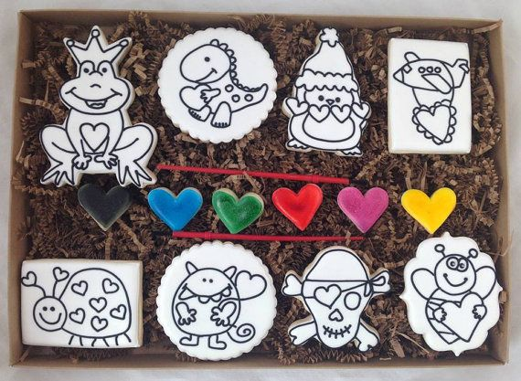 Paint your own Valentine's Day Cookie Set by Whoosbakery on Etsy