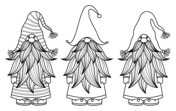 Top 60 Christmas Gnome Clip Art, Outline drawings