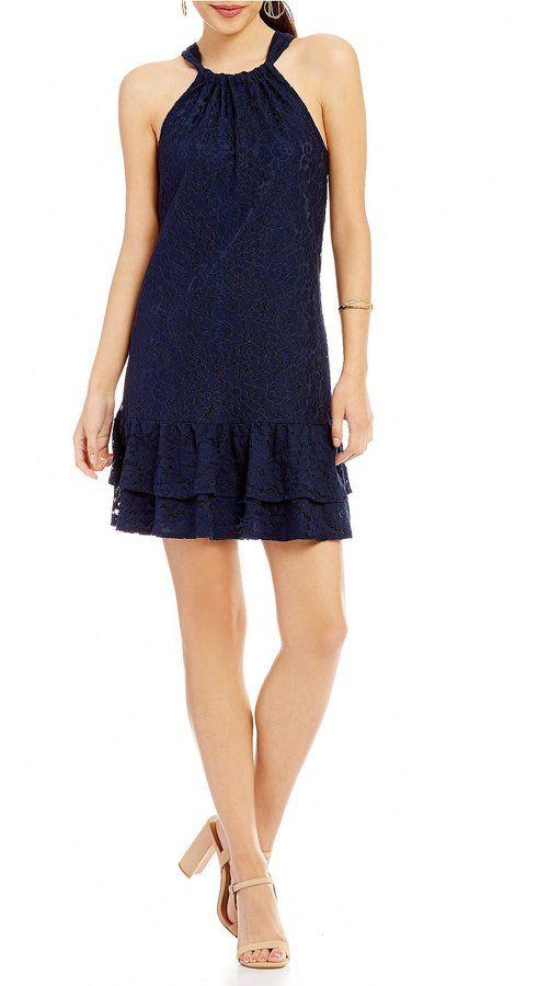 200b0162 Trina Turk trina Standout Tie Back Halter Neck Lace Shift Dress ...