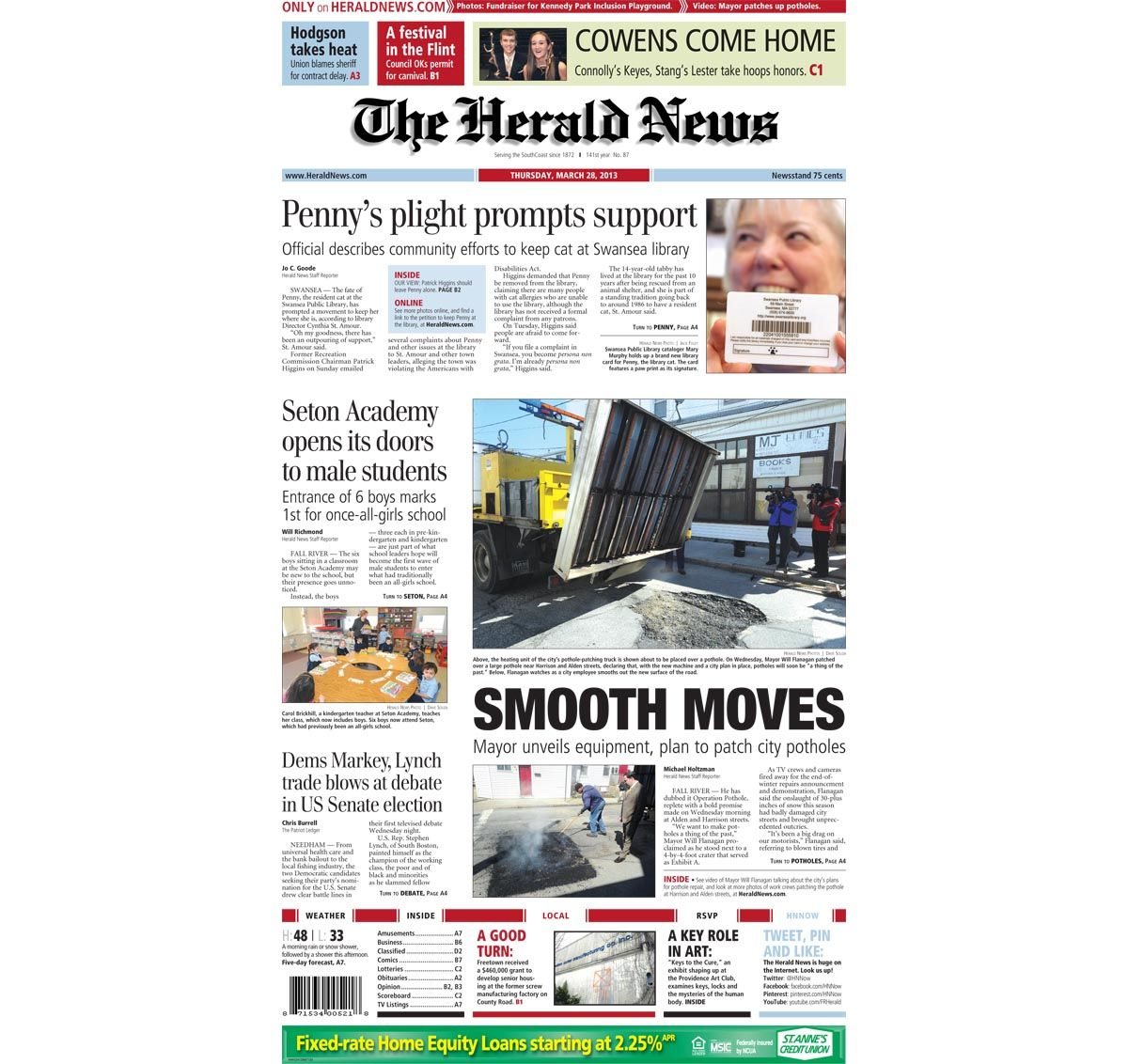 The front page of The Herald News for Thursday, March 28, 2013.
