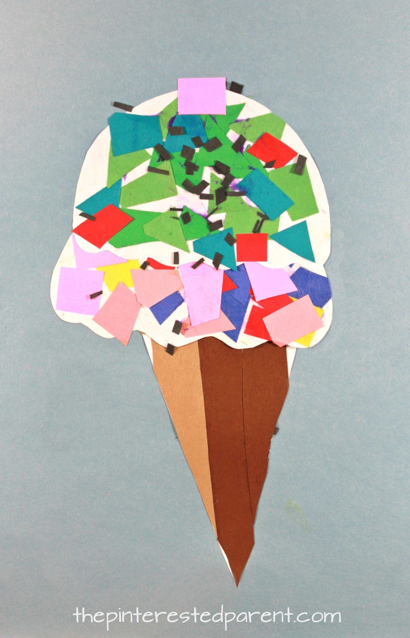 Printable Paper Mosaic Ice Cream Cone Kids Summer Arts Crafts