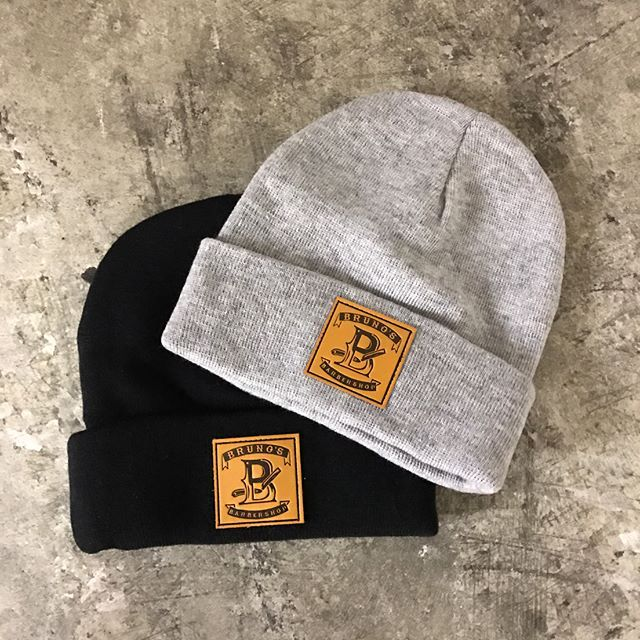 79354150e62 Custom Beanies for Bruno s Barber Shop ( brunosbarbershopnj) - - Custom  debossed leather patch