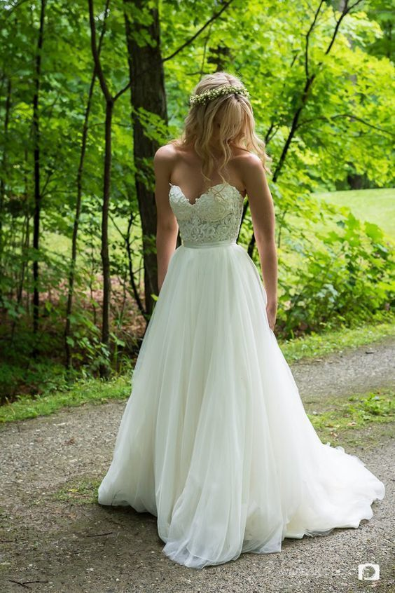 Custom Made Tulle Appliques A Line Wedding Dresses, Sweetheart neck Bridal Gowns – New Ideas