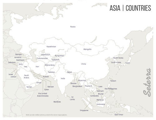 Labeled Asia Map Asia Map Map Quiz Map
