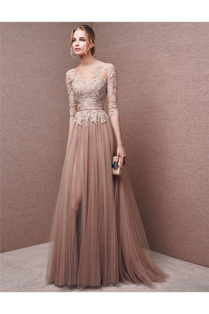 a81f3504f8e A Line Illusion Neckline Long Brown Tulle Lace Evening Prom Dress With  Sleeves