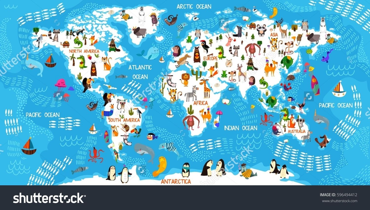 Cartoon animal world map animals from all over the worldoceans cartoon animal world map animals from all over the worldoceans and continentseat for kids designeducational gamemagnet or poster design vector gumiabroncs Choice Image
