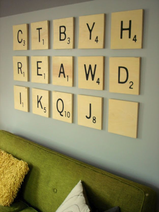 76 Brilliant DIY Wall Art Ideas for Your Blank Walls | Scrabble wall ...