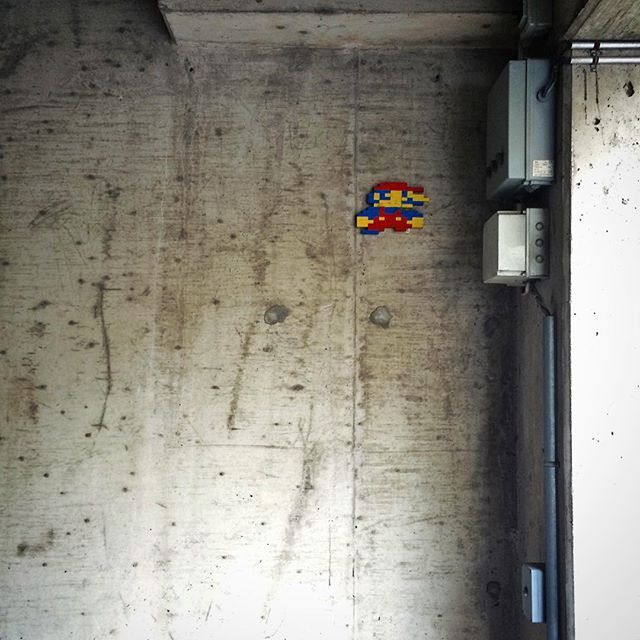 Guerrilla art in the garage. #guerrilla #art #concrete #concretejungle #mario #mariobros #garage #lego #turku #åbo