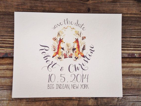 Wedding Save The Date  Fox Lovers by housemanstationery on Etsy, $50.00