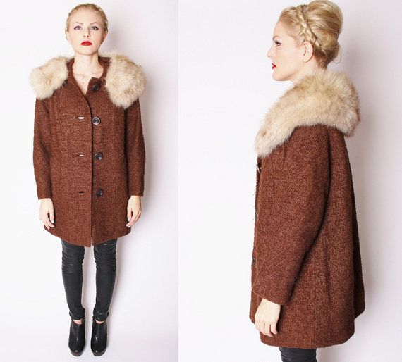 Vintage 1950s Chocolate Brown Wool Winter Coat with Oversized Fur ...