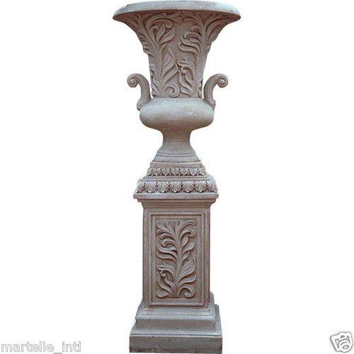 Urn Planter W Leaf Handles Large Outdoor Poly Stone On Pedestal 5