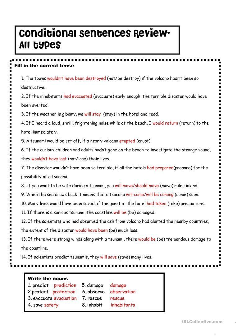 Conditionals 1 2 3 Vs Tsunamis Key Writing Skills Teaching
