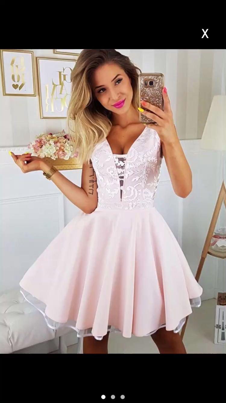 Photo of Heimkehrkleid mit V-Ausschnitt, Heimkehrkleid Pink, Partykleider A-Line, Partykleid