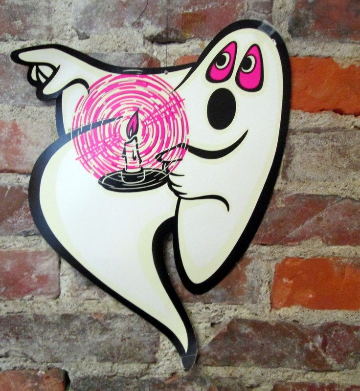 6 Vintage Beistle 14 Night Nite Glo Ghosts Paper Halloween Decorations Cut Outs