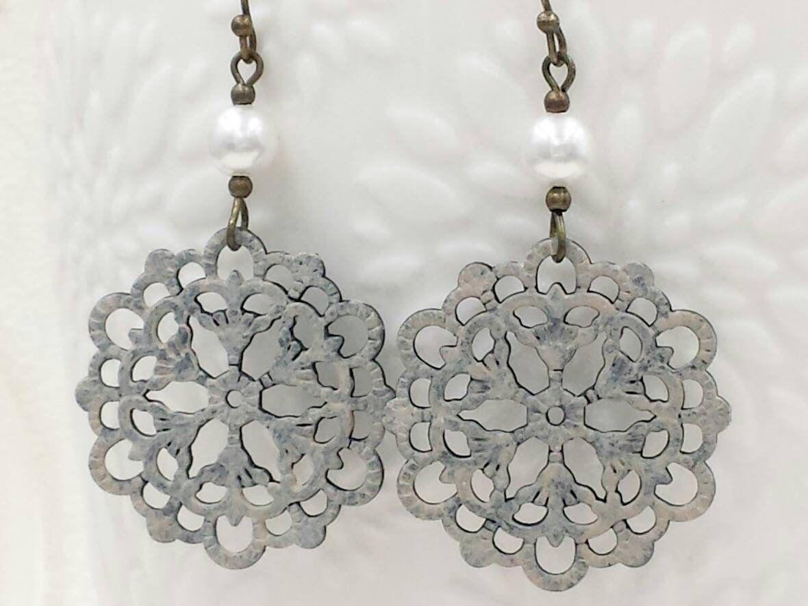 Wedding Jewelry Boho Lace Filigree Earrings Dangle Earrings Romantic Gift Silver Filigree Dangle Earrings Lace Filigree Silver Earrings