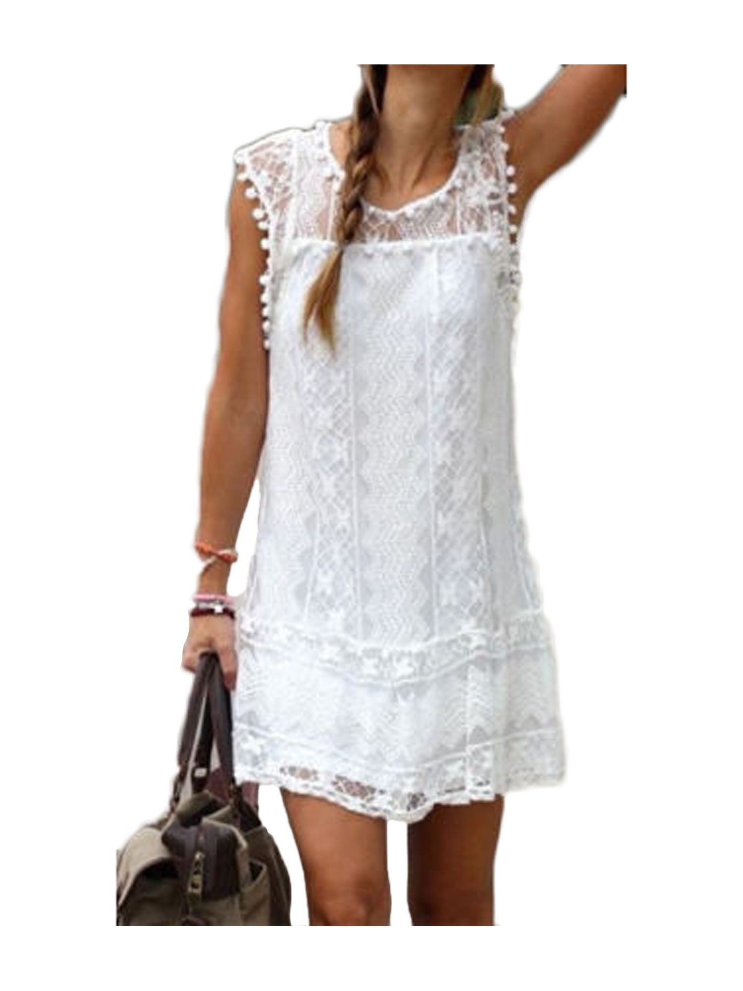 Fiomva Fashion New Women S Summer Casual Sleeveless Evening Party Beach Dress Short Mini Lace Dress White S M L Xl Walmart Com Womens Shift Dresses Lace White Dress Short Mini Dress [ 2000 x 1500 Pixel ]