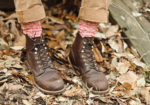 rolled up pants, wool socks, lace up boots, sleeping leaves