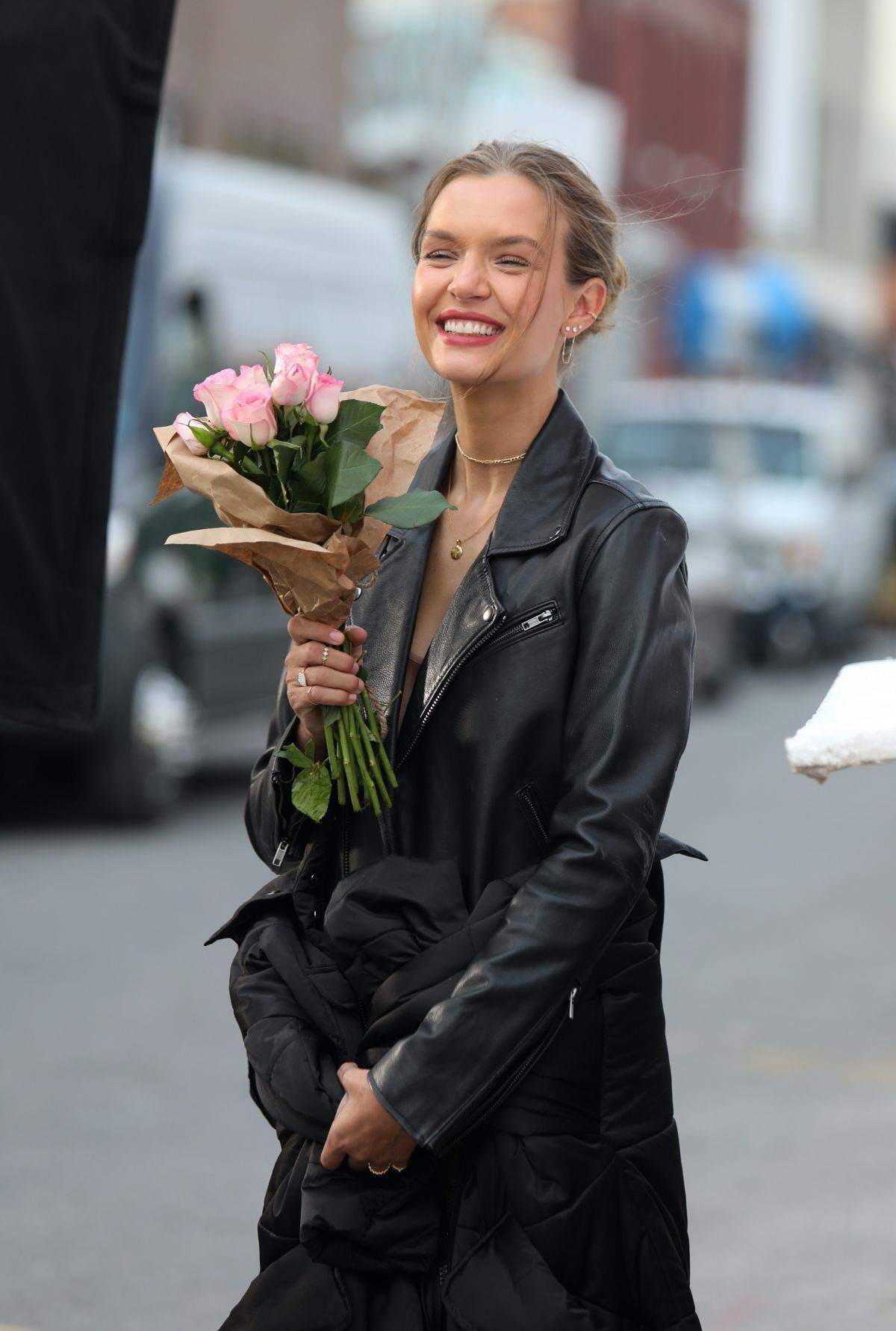 JOSEPHINE SKRIVER on the Set of Maybelline Commerc